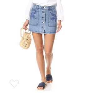 Rebecca Minkoff Rufus embroidered denim skirt